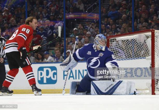 Patrick Kane of the Chicago Blackhawks and Andrei Vasilevskiy of the Tampa Bay Lightning compete in the GEICO NHL Save Streak during 2018 GEICO NHL...