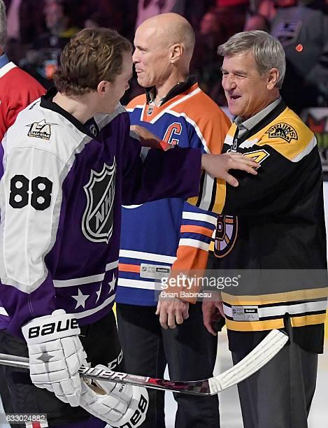 Patrick Kane of the Chicago Blackhawks and former NHL player Bobby Orr greet one another prior to the 2017 Honda NHL AllStar Game at Staples Center...