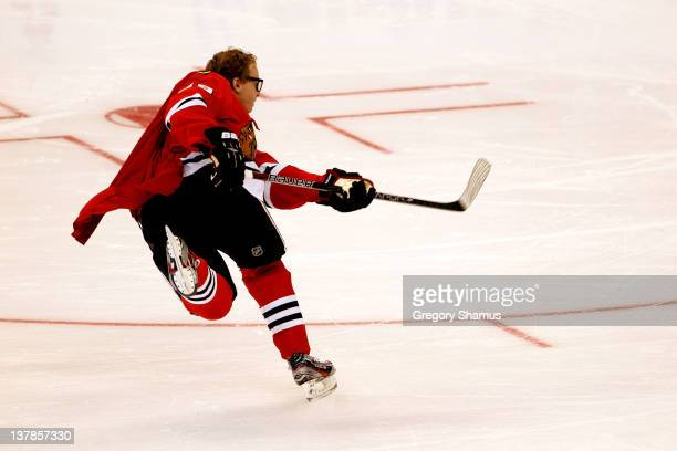 Patrick Kane of the Chicago Blackhawks and Team Chara takes against Team Alfredsson shot during the AllState Insureance NHL Breakaway Challenge part...