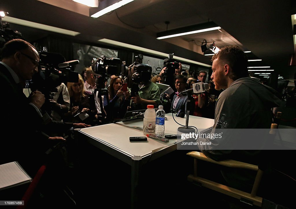 Patrick Kane #88 of the Chicago Blackhawks answers questions during the 2013 NHL Stanley Cup media day at the United Center on June 11, 2013 in Chicago, Illinois.
