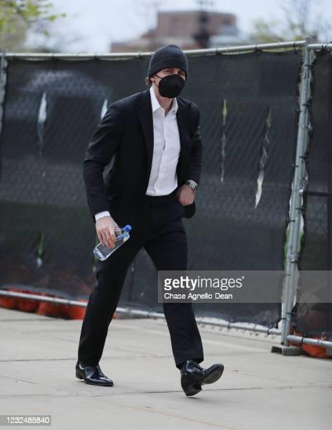 Patrick Kane of the Chicago Blackhawks arrives for a game against the Nashville Predators at United Center on April 23, 2021 in Chicago, Illinois.