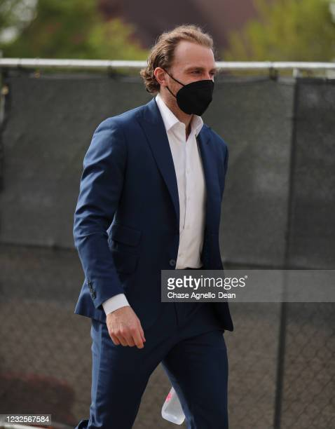 Patrick Kane of the Chicago Blackhawks arrives for the game against the Tampa Bay Lightning at United Center on April 27, 2021 in Chicago, Illinois.