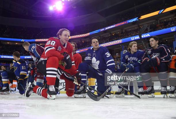 Patrick Kane of the Chicago Blackhawks Auston Matthews of the Toronto Maple Leafs Brock Boeser of the Vancouver Canucks and Zach Werenski of the...