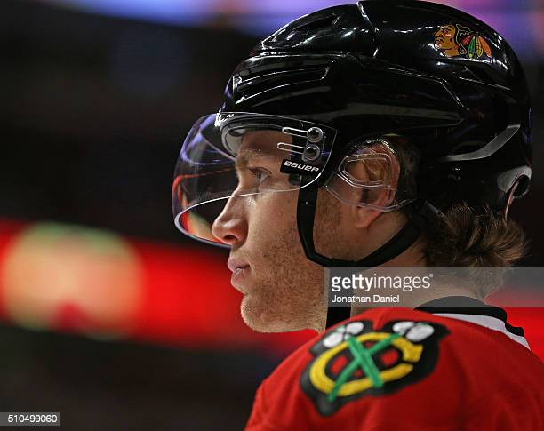 Patrick Kane of the Chicago Blackhawks awaits a face-off against the Toronto Maple Leafs at the United Center on February 15, 2016 in Chicago,...