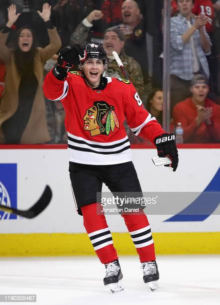 Patrick Kane of the Chicago Blackhawks celebrates a third period goal against the Dallas Stars at the United Center on November 26, 2019 in Chicago,...