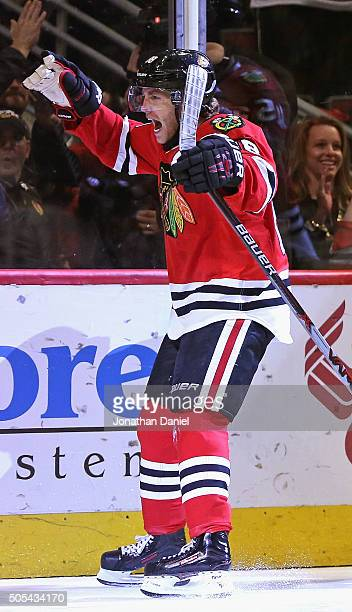 Patrick Kane of the Chicago Blackhawks celebrates a third period goal against the Montreal Canadiens at the United Center on January 17 2016 in...