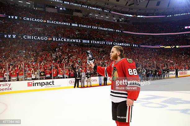 Patrick Kane of the Chicago Blackhawks celebrates after defeating the Tampa Bay Lightning by a score of 20 in Game Six to win the 2015 NHL Stanley...