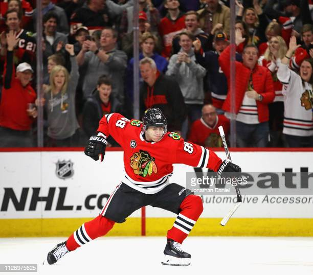 Patrick Kane of the Chicago Blackhawks celebrates after scoring a goal in the third period against the Detroit Red Wings at the United Center on...