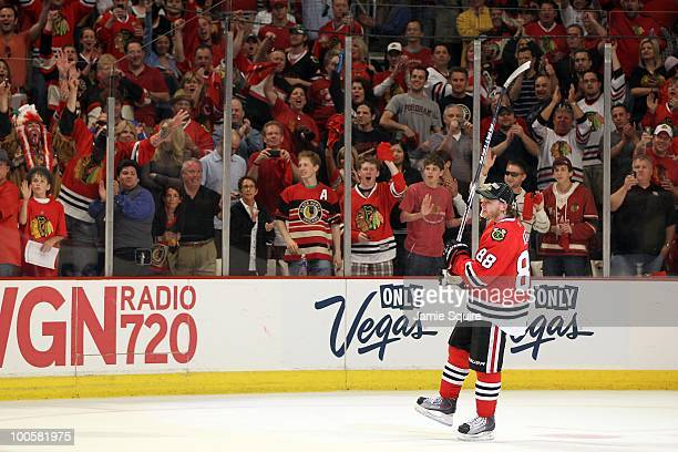 Patrick Kane of the Chicago Blackhawks celebrates as the Blackhawks defeat the San Jose Sharks 42 to advance to the Stanley Cup after winning Game...