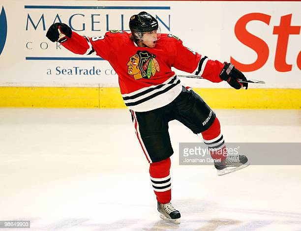 Patrick Kane of the Chicago Blackhawks celebrates his gametying score with 13 seconds left in regulation against the Nashville Predators in Game Five...