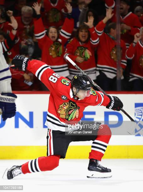 Patrick Kane of the Chicago Blackhawks celebrates the first of two third period goal against the Toronto Maple Leafs during the regular season...