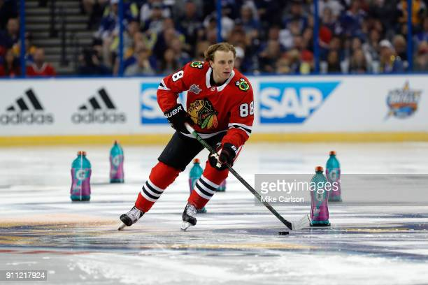 Patrick Kane of the Chicago Blackhawks competes in the Gatorade NHL Puck Control Relay during the 2018 GEICO NHL AllStar Skills Competition at Amalie...