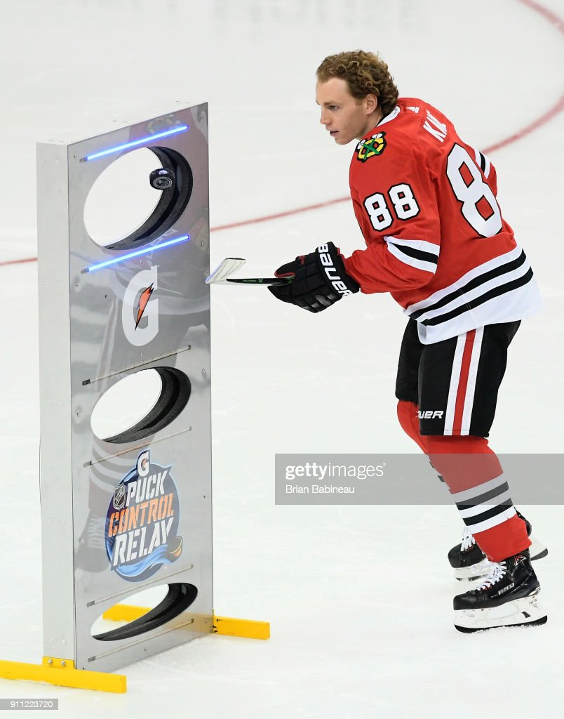 Patrick Kane #88 of the Chicago Blackhawks competes in the Gatorade NHL Puck Control Relay during 2018 GEICO NHL All-Star Skills Competition at Amalie Arena on January 27, 2018 in Tampa, Florida.