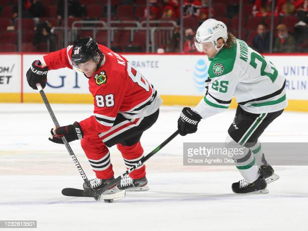 Patrick Kane of the Chicago Blackhawks controls the puck against Joel Kiviranta of the Dallas Stars during the first period at United Center on May...