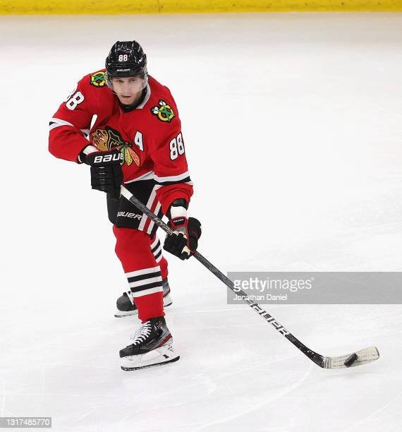 Patrick Kane of the Chicago Blackhawks controls the puck against the Dallas Stars at the United Center on May 10, 2021 in Chicago, Illinois. The...