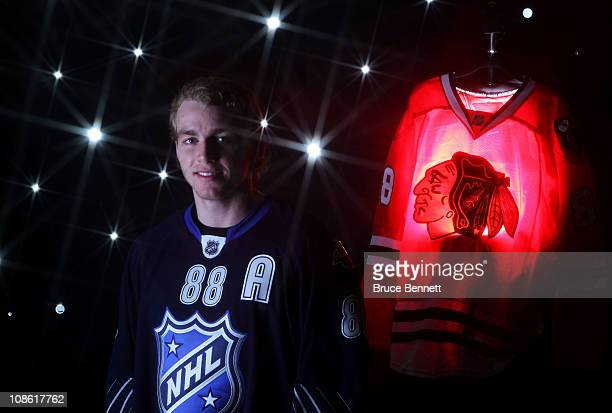 Patrick Kane of the Chicago Blackhawks for Team Lidstrom poses for a portrait before the 58th NHL AllStar Game at RBC Center on January 30 2011 in...