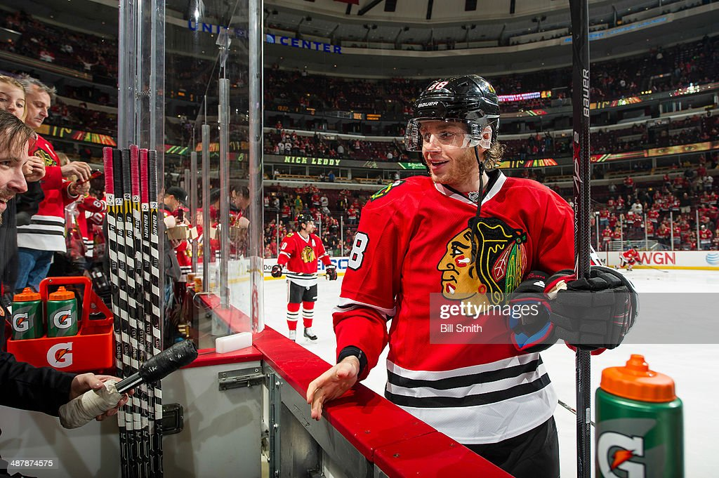 Patrick Kane #88 of the Chicago Blackhawks gets his equipment ready prior to Game One of the Second Round of the 2014 Stanley Cup Playoffs against the Minnesota Wild at the United Center on May 02, 2014 in Chicago, Illinois.
