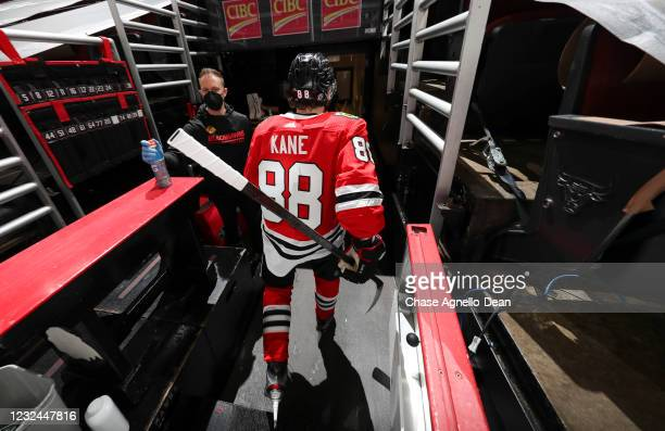Patrick Kane of the Chicago Blackhawks heads to the locker room following his pre game warm up prior to a game against the Nashville Predators at...