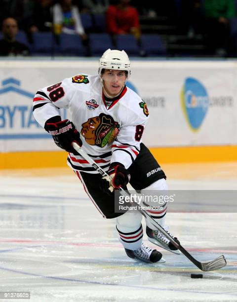 Patrick Kane of the Chicago Blackhawks in action during The Compuware/NHL Premiere Helsinki series match between the Chicago Blackhawks and the...