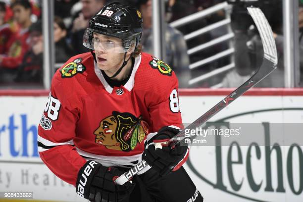 Patrick Kane of the Chicago Blackhawks looks across the ice in the first period against the Buffalo Sabres at the United Center on December 8 2017 in...