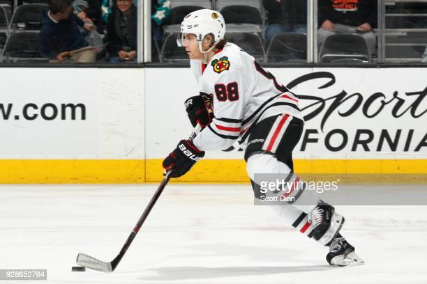 Patrick Kane of the Chicago Blackhawks moves the puck during a NHL game against the San Jose Sharks at SAP Center on March 1 2018 in San Jose...