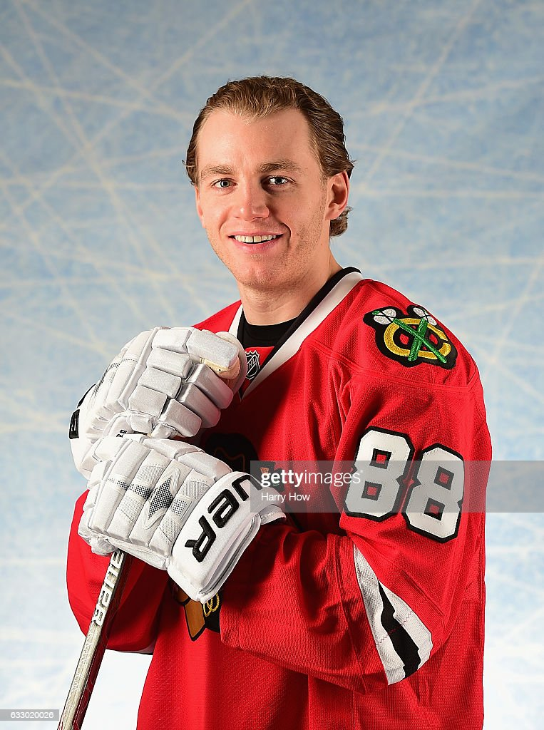 Patrick Kane #88 of the Chicago Blackhawks poses for a portrait prior to the 2017 Honda NHL All-Star Game at Staples Center on January 29, 2017 in Los Angeles, California.