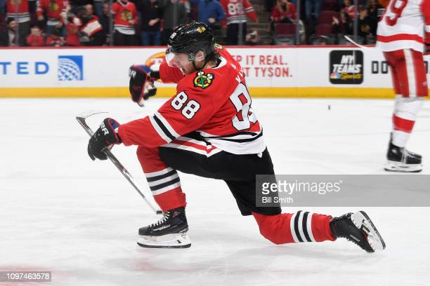 Patrick Kane of the Chicago Blackhawks reacts after scoring against the Detroit Red Wings in the third period at the United Center on February 10...