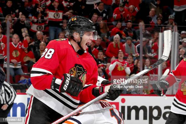 Patrick Kane of the Chicago Blackhawks reacts after scoring against the Edmonton Oilers in the second period at the United Center on October 14 2019...