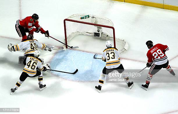 Patrick Kane of the Chicago Blackhawks scored a goal in the first period against Tuukka Rask of the Boston Bruins in Game Five of the 2013 NHL...