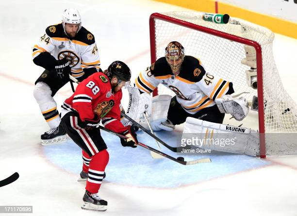 Patrick Kane of the Chicago Blackhawks scores a goal in the second period against Tuukka Rask of the Boston Bruins in Game Five of the 2013 NHL...