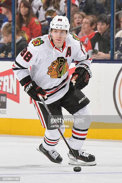 Patrick Kane of the Chicago Blackhawks skates against the Columbus Blue Jackets on April 9 2016 at Nationwide Arena in Columbus Ohio