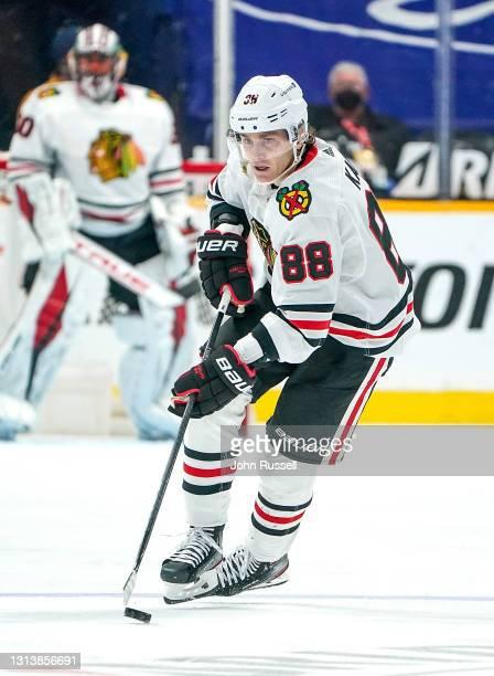 Patrick Kane of the Chicago Blackhawks skates against the Nashville Predators at Bridgestone Arena on April 19, 2021 in Nashville, Tennessee.