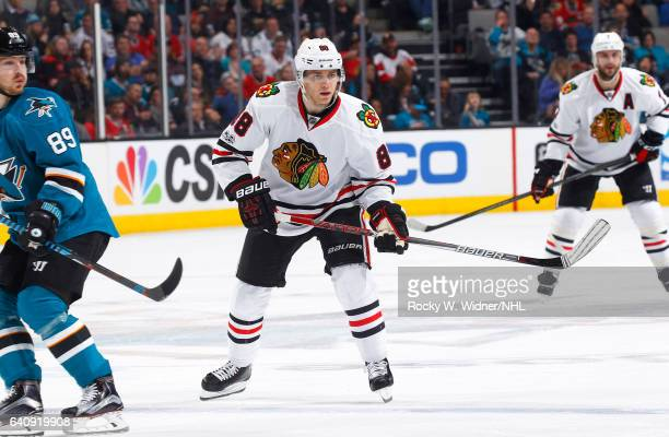 Patrick Kane of the Chicago Blackhawks skates against the San Jose Sharks at SAP Center on January 31 2017 in San Jose California