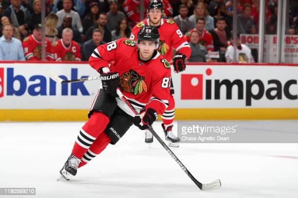 Patrick Kane of the Chicago Blackhawks skates in the first period against the San Jose Sharks at the United Center on October 10 2019 in Chicago...