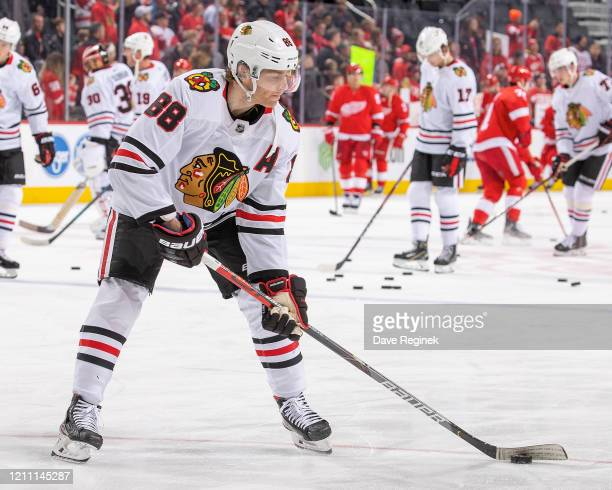 Patrick Kane of the Chicago Blackhawks skates in warm-ups prior to an NHL game against the Detroit Red Wings at Little Caesars Arena on March 6, 2020...