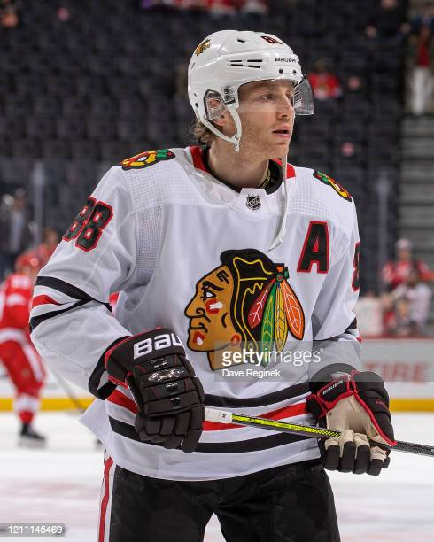 Patrick Kane of the Chicago Blackhawks skates in warmups prior to an NHL game against the Detroit Red Wings at Little Caesars Arena on March 6 2020...