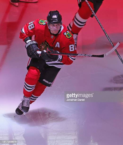 Patrick Kane of the Chicago Blackhawks skates onto the ice before a game against the Dallas Stars at the United Center on May 09, 2021 in Chicago,...