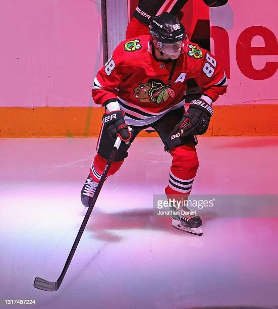 Patrick Kane of the Chicago Blackhawks skates onto the ice before a game against the Dallas Stars at the United Center on May 10, 2021 in Chicago,...