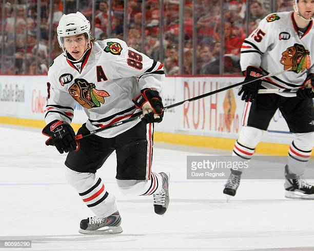 Patrick Kane of the Chicago Blackhawks skates up ice during a NHL game against the Detroit Red Wings on April 6 2008 at Joe Louis Arena in Detroit...