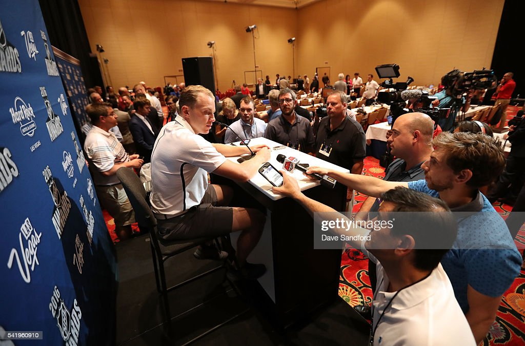 Patrick Kane of the Chicago Blackhawks speaks with the media during a press availability at the Encore Ballroom on June 21, 2016 in Las Vegas, Nevada.
