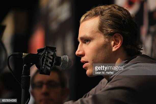 Patrick Kane of the Chicago Blackhawks speaks with the media during 2017 NHL AllStar Media Day as part of the 2017 NHL AllStar Weekend at the JW...