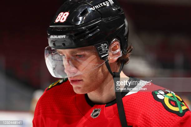 Patrick Kane of the Chicago Blackhawks stands on the ice prior to a game against the Nashville Predators at United Center on April 21, 2021 in...