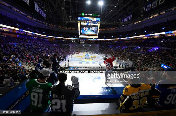 Patrick Kane of the Chicago Blackhawks takes part in the Gatorade NHL Shooting Stars event as part of the 2020 NHL AllStar Skills competition at...