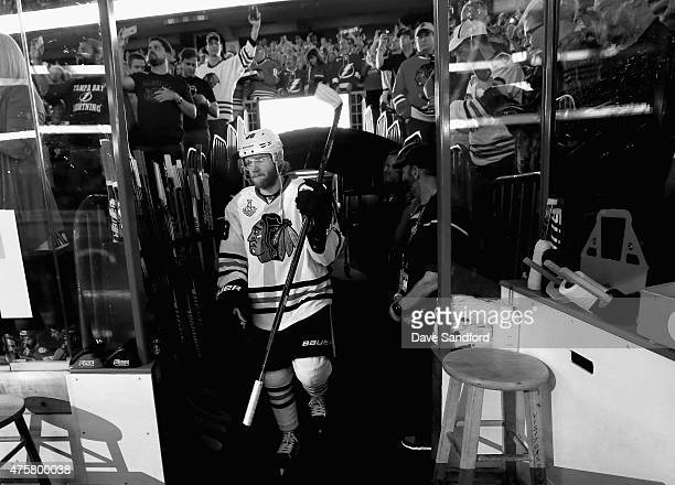Patrick Kane of the Chicago Blackhawks takes the ice before playing the Tampa Bay Lightning in Game One of the 2015 NHL Stanley Cup Final at Amalie...
