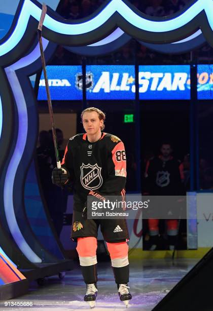 Patrick Kane of the Chicago Blackhawks takes the ice for the 2018 Honda NHL AllStar Game at Amalie Arena on January 28 2018 in Tampa Florida