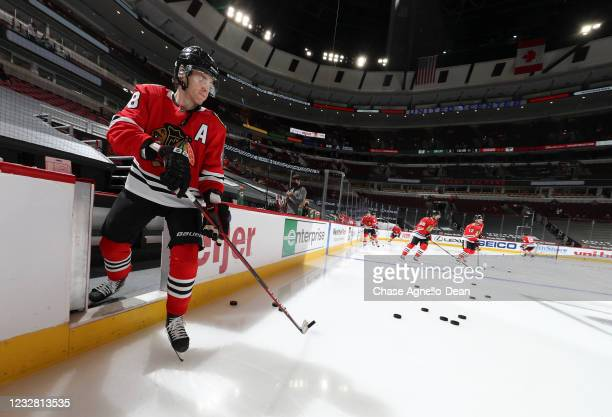 Patrick Kane of the Chicago Blackhawks takes the ice for warm up prior to a game against the Dallas Stars at United Center on May 10, 2021 in...