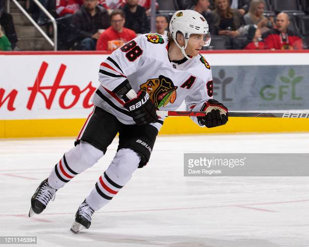 Patrick Kane of the Chicago Blackhawks turns up ice against the Detroit Red Wings during an NHL game at Little Caesars Arena on March 6 2020 in...