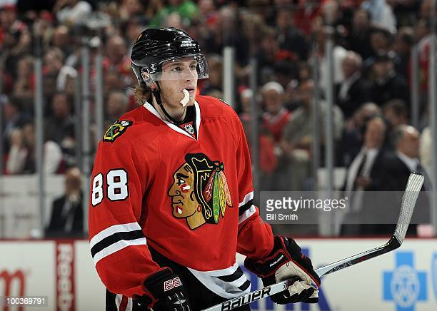 Patrick Kane of the Chicago Blackhawks waits for play to begin at Game Three of the Western Conference Finals against the San Jose Sharks during the...