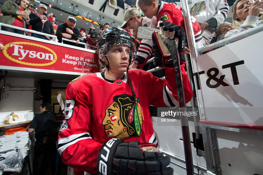 Patrick Kane #88 of the Chicago Blackhawks walks out to the ice prior to the game against the Minnesota Wild at the United Center on October 12, 2017 in Chicago, Illinois.