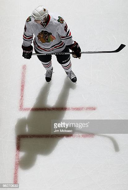 Patrick Kane of the Chicago Blackhawks warms up before playing against the New Jersey Devils at the Prudential Center on April 2 2010 in Newark New...